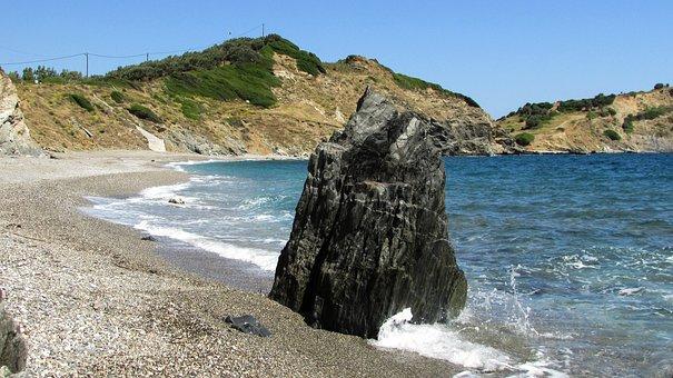 Greece, Skiathos, Rock, Pebble Beach, Sea, Island