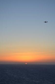 Sunset, Island, Plane, Shadows, Reflections, Yellow