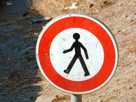 Shield, Ban, Prohibitory, French, Pedestrian