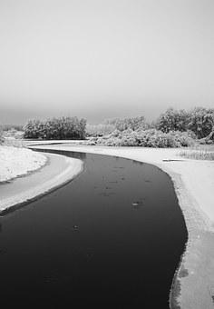 River, Winter, Snow, Snowy, Water, Frost