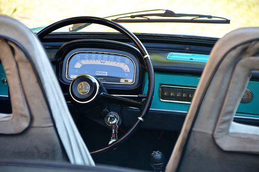 Steering Wheel, Speedometer, Car Keys, Oldtimer