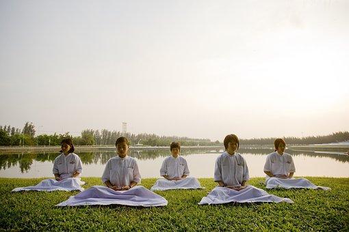 Meditate, Children, School, Buddhists, Camp, Thailand