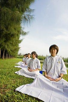 Girls, Thailand, Children, School, Buddhists, Camp