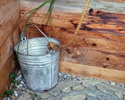 Bucket, Fountain Bucket, Metal, Water, Rope