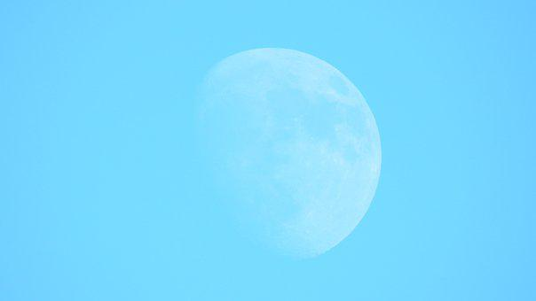 Moon, The Background, Blue, Sky, Atmosphere, Astronomy