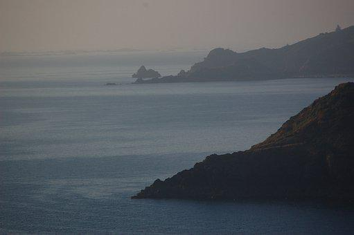 Coast, Rock, Fog, Twilight, Haze, Sea, Ocean, Bank