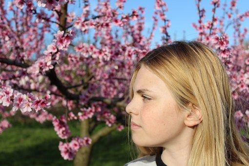 Spring, Boy, Child, Blonde Hair, Long Hair, Nature