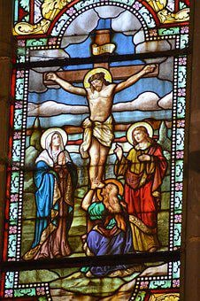 Stained Glass, Colorful, Crucifixion, Death, Jesus