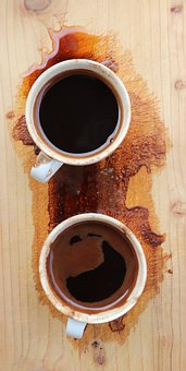 Coffee Time, Turkish Coffe, Cups, With, Black, Wood