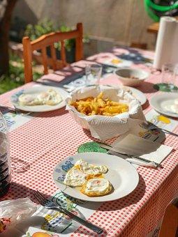 Breakfast, Eggs, Potatos, Potatoes, Fried Eggs, Garden