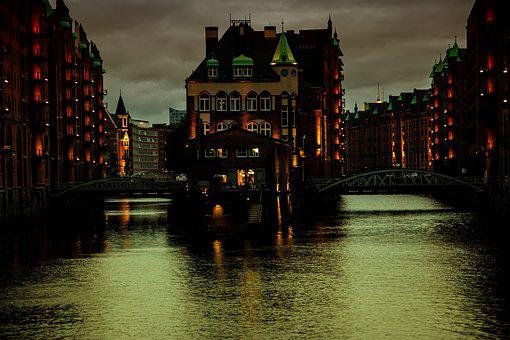 Water Castle, Hamburg, Speicherstadt, Lighting, Evening
