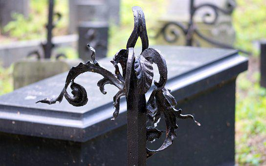 Art, Metal, Leaves, Black, Fence, Cemetery, The Funeral