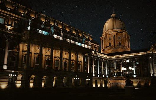 Castle, Night, Budapest, Dark, Sky, Historically