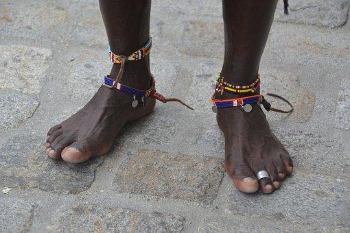 Massai, Feet, Human, Jewellery, Patch, Africa