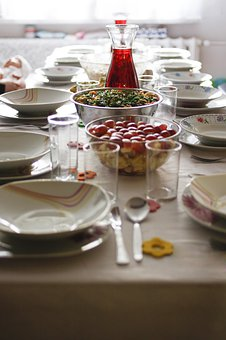 Dining Table, Kitchen Utensils, Tablecloth, Cutlery