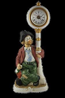 Lamp, Clown, Image, Clock, Antique, Circus, Vintage