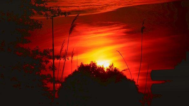 Sun, Red, Sunset, Heaven, Clouds, Landscape, Light
