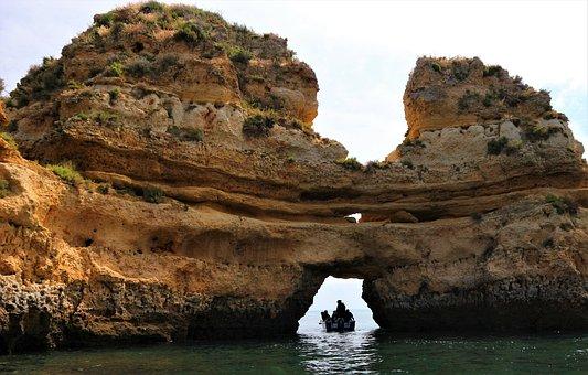 Portugal, Algarve, Ponta Da Piedade, Sea, Landscape