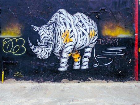 Graffiti, Rhino, Background, Wall, Animal, Murals