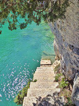 Staircase, River, Verdon, Paradise, Nature, Reflection