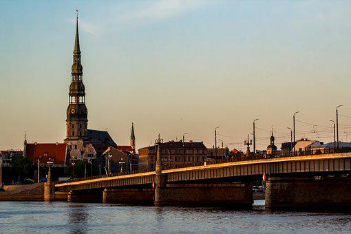 Latvia, Bridge, River, Saint Peter's Cathedral