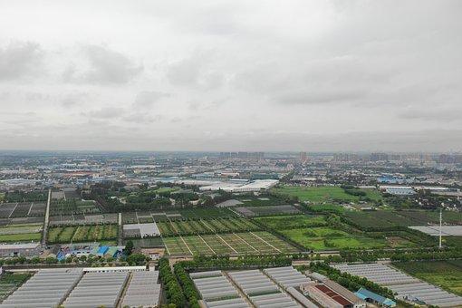 Shanghai, Jiading, Huating, Countryside, Aerial, Green