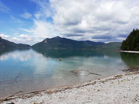 Lake, Walchensee, Bavaria, Sky, Mountains, Spring