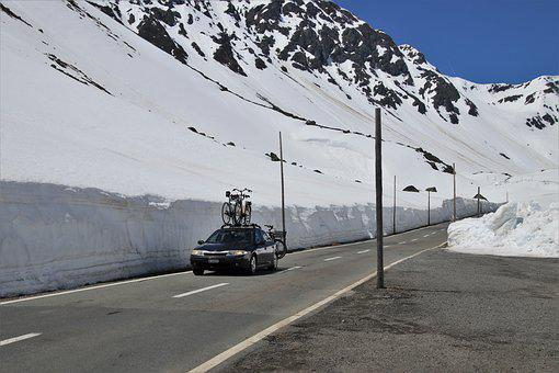 The Side Of The Road, The Alps, Snow, Vehicle, Highway