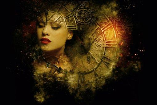 Fantasy, Dark, Gothic, Steampunk, Clock, Gears, Light