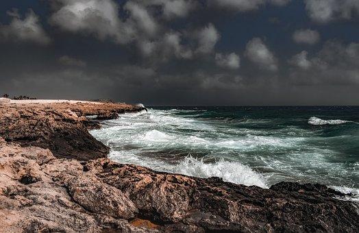 Rocky Coast, Sea, Rough Sea, Storm, Stormy Weather, Sky