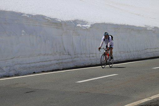 Mountain, Cyclist, Snow, The Alps, Highway
