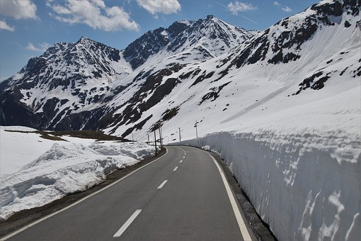 The Side Of The Road, Snow, Mountains, The Stage, Steep