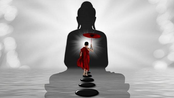 Monk, Buddha, Water, Zen, Stones, Away, Light Beam