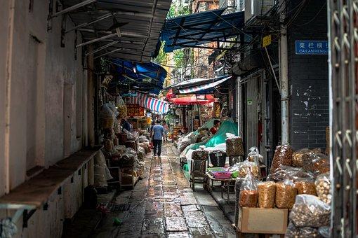 Guangzhou, China, Away, Side Street, Asia, City