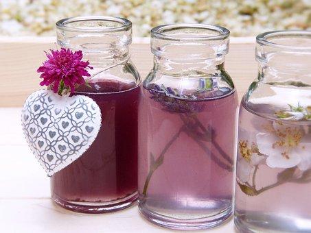 Water, Bottles, Glasses, Color, Fragrance, Flowers