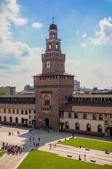 Milan, Castello Sforzesco, Italy, Architecture, City