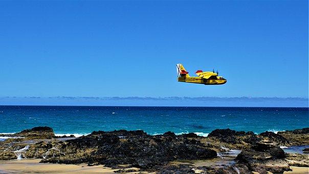 Light Aircraft, Propeller Plane, Ocean, Sea, Rock