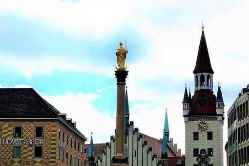 Munich, Downtown, Marienplatz, Marian Column