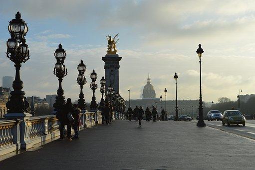 Paris, Bridge, Sunset, France, Architecture, City