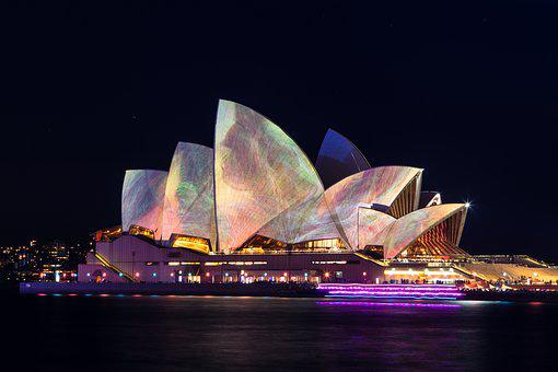 Sydney, Opera, House, Illuminated, Night, Harbour