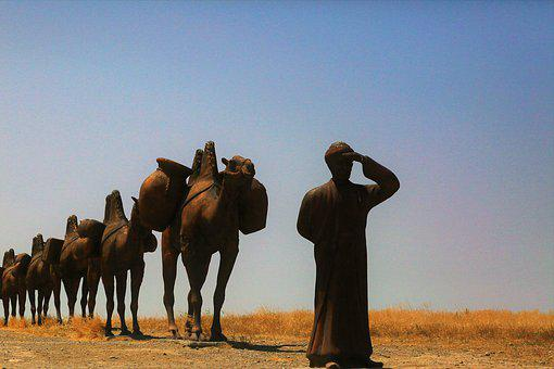 Caravan, On, Animation, Camel, Maquette, The Silk Road