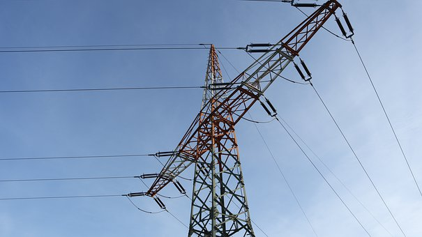 Strommast, Sky, Blue Sky, Power Supply, Upper Lines