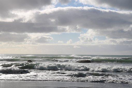 Sea, Ocean, Sunbeams, Waves, Silver, Glare, Light