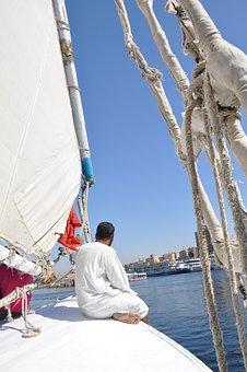 Sailing, Egyptian, Feluccas, Wind, Sea, Nile, Egypt