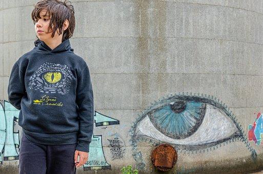 Child, œil, Portrait, Tag, Graphics, Street-art