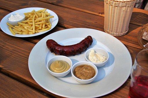 French Fries, Grilled, Sausage, Mustard, Horseradish