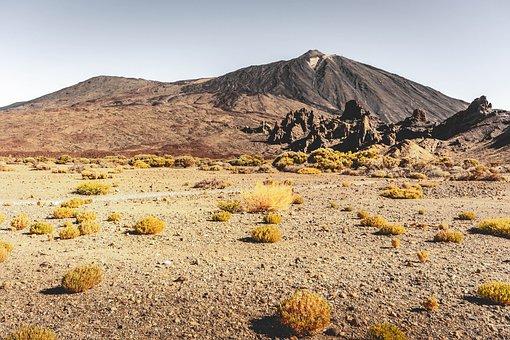 Desert, Teide, Tenerife, Away, Path, Lava, Sand, Trace