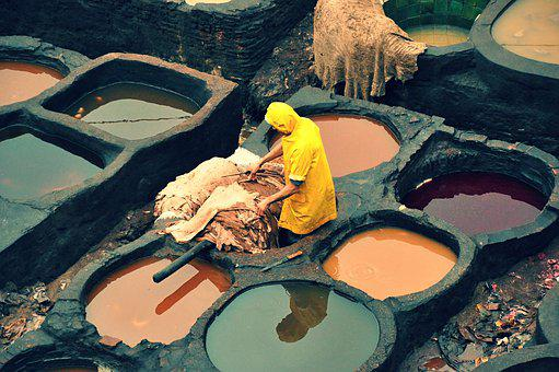 Africa, Morocco, Fes, Leather, Dyeing, Tradition
