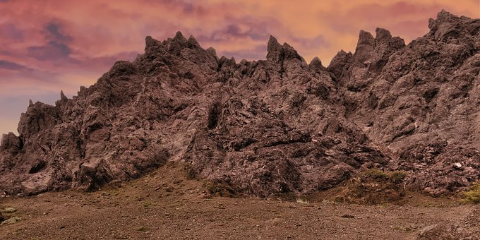 Jagged Rock, Mountain, Landscape, Nature, Red, Dramatic