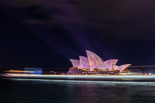 Sydney, Opera, House, Illuminated, Night, Harbour